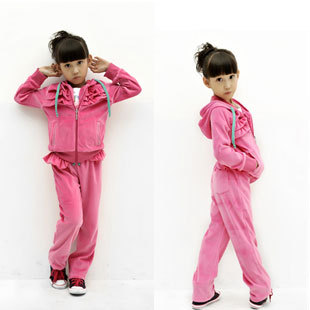 Kids Velour Clothing Set Suit, Girls Casual Sport Wear with Solid Color Design A119