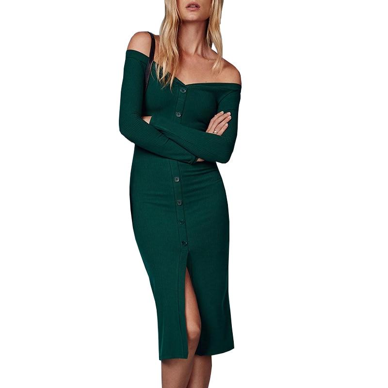 New 2017 Green Knitted Midi Dress Sexy Off Shoulder V Neck Bodycon Dresses Winter Elegant Buttons Front Slit Dress Vestido women s elegant classy round neck bodycon tight midi dress blue yellow green s