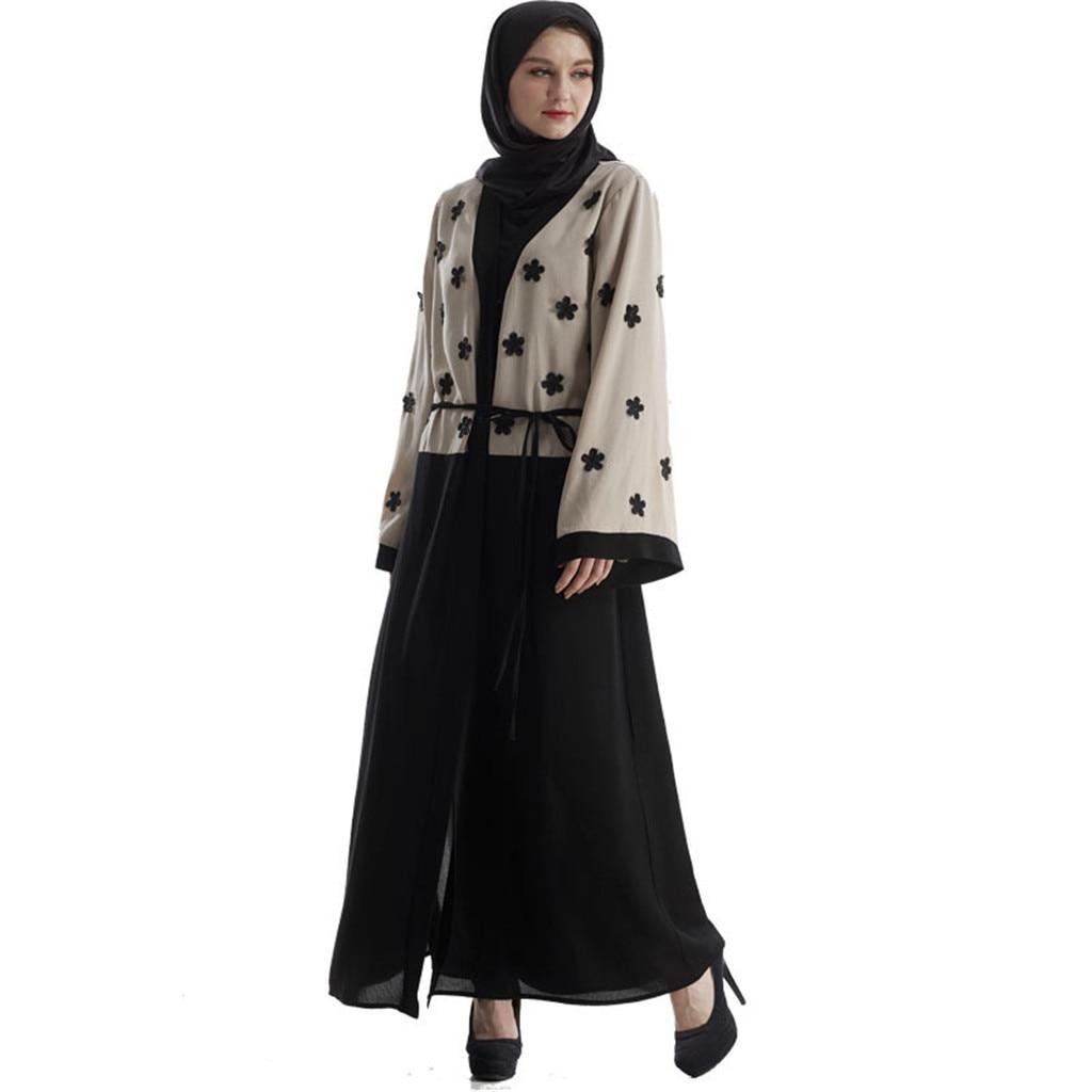 Abaya Dubai Muslim Dresses And Abaya For Women Lace Women Dresses 2019 Open Front Cardigan Embroidery Islamic Maxi Dress Women