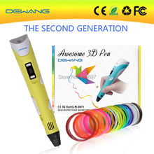 DEWANG 2016 Free shipping promotional laser pointer magic stereoscopic yellow 3d printer drawing pen 20 colors 5m ABS filament