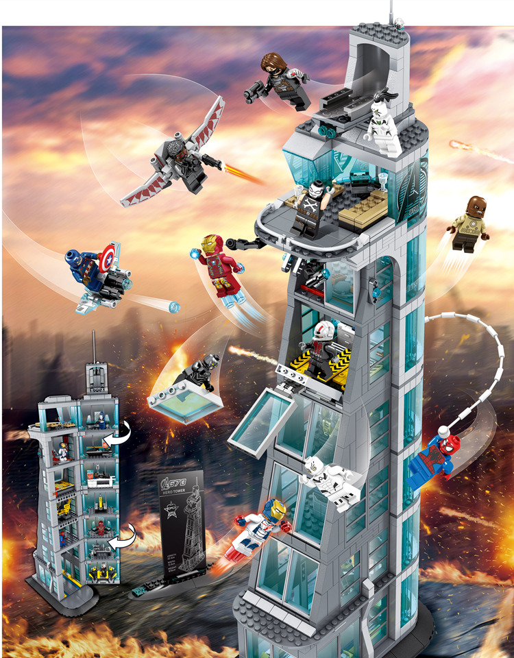 Avenger Attaque sur Avengers Tour 7th Building Blocks Marvel Super Héros Figures Compatible Legoings