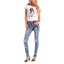 7cbaa21118b6 Kiby's Embroidered ripped skinny jeans for Women 2018 indigo increase Size  S-XXXL