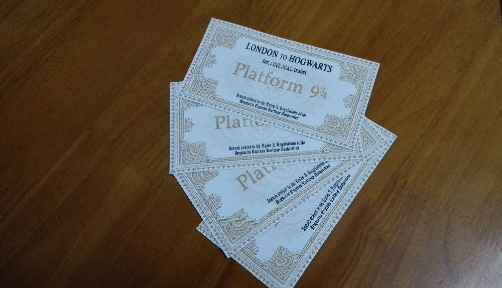 Hogwarts School tickets 5 PCS one set for children fancy gift  Potter Train tickets Nine and three quarters for tickets
