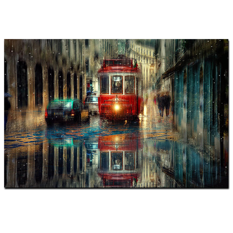Retro City Street Landscape Oil Painting on Canvas Art Posters and Prints Scandinavian Wall Picture for Living Room Cudros Decor