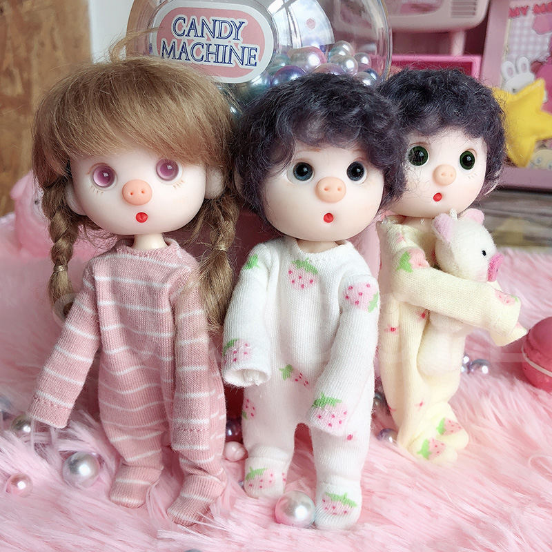 New Cute Doll Clothes Coverall Pant Pajamas,Stripe Shirt  For Ob11,obitsu 11,1/12bjd Doll Clothes Accessories For Dolls