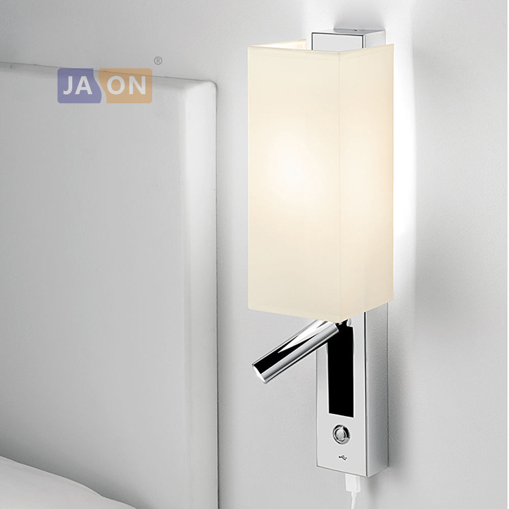LED Nordic Iron Aluminum Fabric Chrome USB LED Wall lamp Wall Light wireless wall lamp Bedside lamp with Switch For Bedroom
