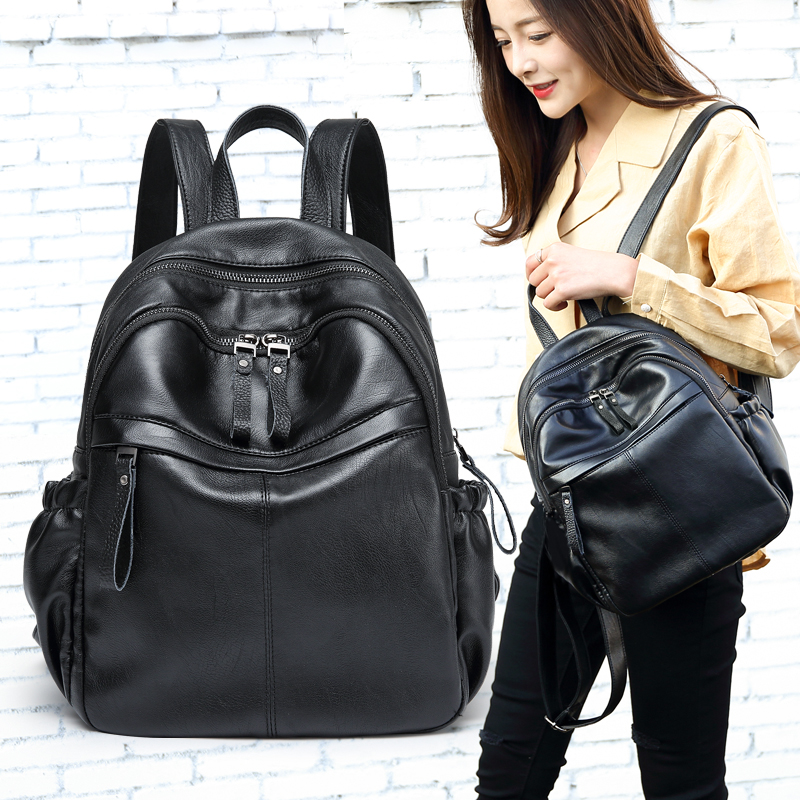 Everyday special offer Cow leather women backpack Simple Wild belt Decorative backpack College Style Korean Schoolbag special offer wings xx4232 jc korean air hl7630 1 400 b747 8i commercial jetliners plane model hobby