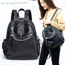 Everyday special offer Cow leather women backpack Simple Wild belt Decorative College Style Korean Schoolbag