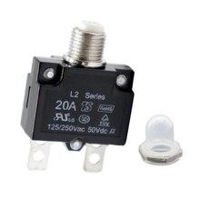 1 комплект автоматических выключателей переменного тока 125/250 В 20 А с кнопкой сброса вручную и прозрачной водонепроницаемой крышкой для автомобилей, грузовиков, судов и т. д.