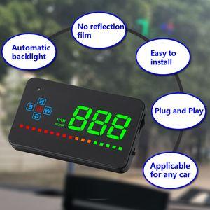 Image 3 - A2 miroir GPS HUD affichage tête haute voiture vitesse pare brise projecteur Auto compteur de vitesse KMH/KPM universel numérique compteur de vitesse