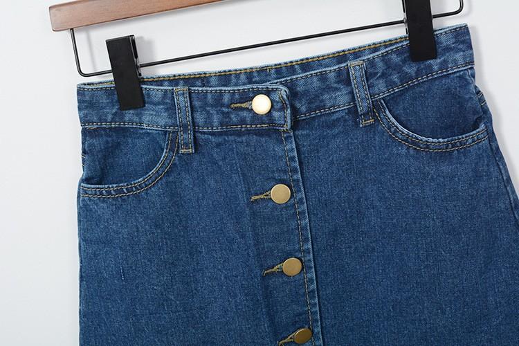 Blue Midi Denim High Waist Skirt 4