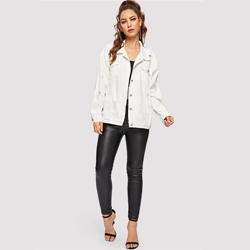 COLROVIE Ripped Drop Shoulder Women Denim Jackets Black White Oversize Purple Casual Female Jacket Coat Chic Jacket for Girls 15