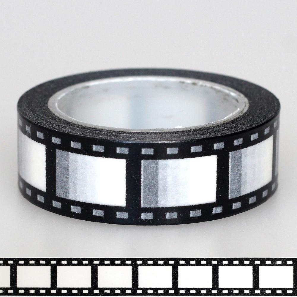 1X 15mm Tape Black White Negative Camera Film Print Scrapbooking DIY Sticker Decorative Masking Japanese Washi Tape Paper 10m