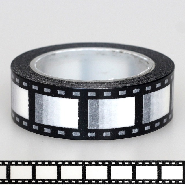 1X15mm Tape Zwart Wit Negatieve camera film Print Scrapbooking DIY Sticker Decoratieve Masking Japanse Washi Tape Papier 10 m