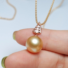 Sinya Real diamonds 18K Au750 gold pendant necklace with 12-13mm southsea golden pearl fine jewelry for women ladies high luster sinya 18k gold necklace with 12mm big southsea golden pearl pendants high luster fashion design jewelry for women ladies gift
