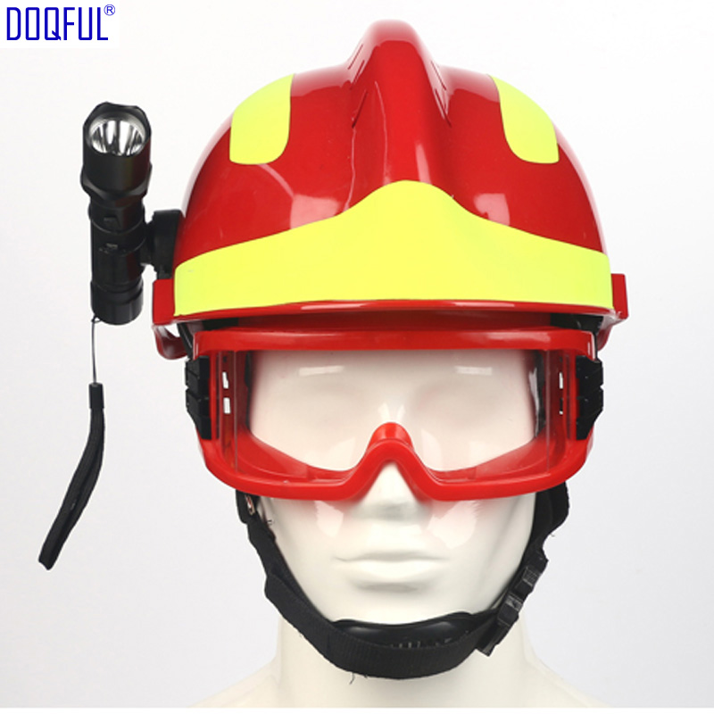Work Safety Rescue Crash Helmet Goggles Head-mounted Flashlight Firefighter Workplace Construction Head Eyes Protection Hard Hat