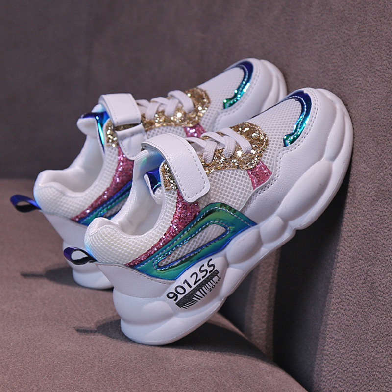 Ulknn novas meninas sapatos esportivos selvagens grandes crianças outono menino fundo macio respirável crianças sapatos casuais azul