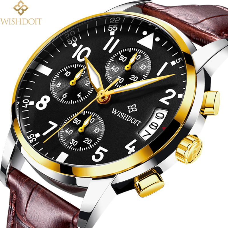 WISHDOIT Mens Watches Top Luxury Brands Fashion Casual Business Sports Men Quartz Watch All Steel Waterproof Military male Clock sinobi high quality watches mens leather quartz watch luxury brands males rose gold steel casual wristwatch gents clock hours