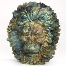 4.33 Lion Head Labradorite Figurine Carved Stone Animal Statue Healing Reiki Home Office Decor natural fluorspar and labradorite figurine stone necroma sculpture decorated statue wizard stones and crystals hand carved