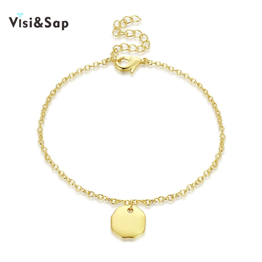 Visisap Geometric Polygon Charms Bracelets For Women Gold Color Bracelet Party Gift Wholesale Accessories Fashion Jewelry VKH017
