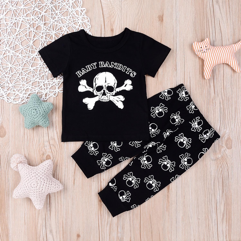 Summer Baby clothes set Fashion Toddler Kids girls bosy Skull