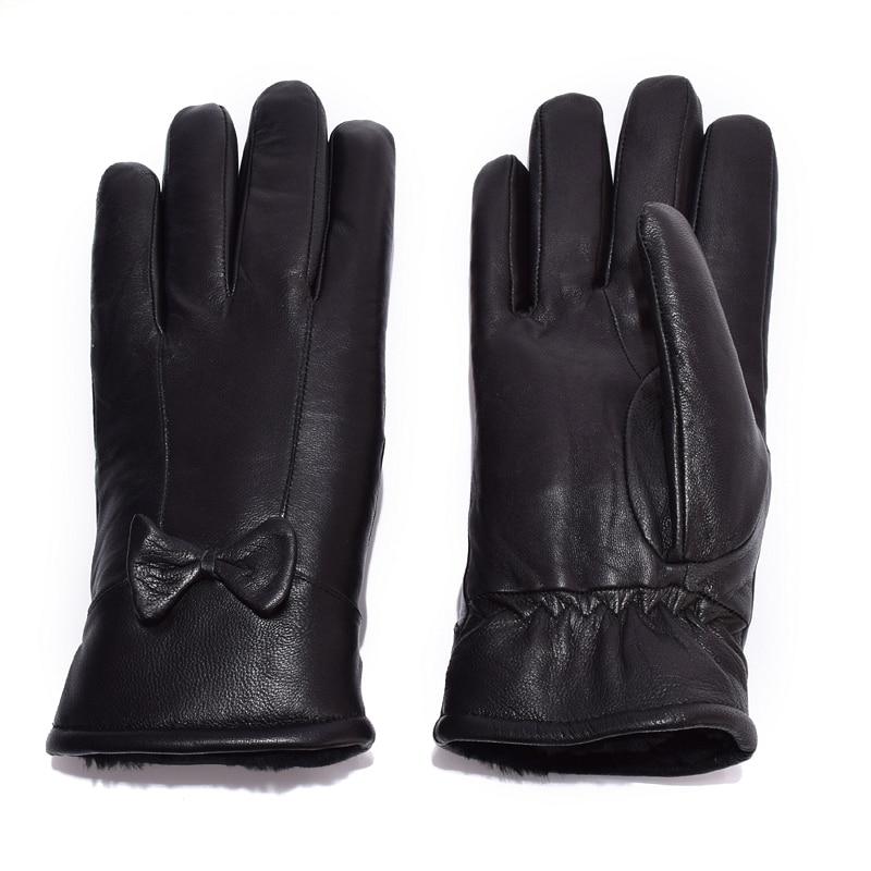Kvinnors läderhandskar för vinter äkta pälsfoder Guantes Mujer - Kläder tillbehör - Foto 5