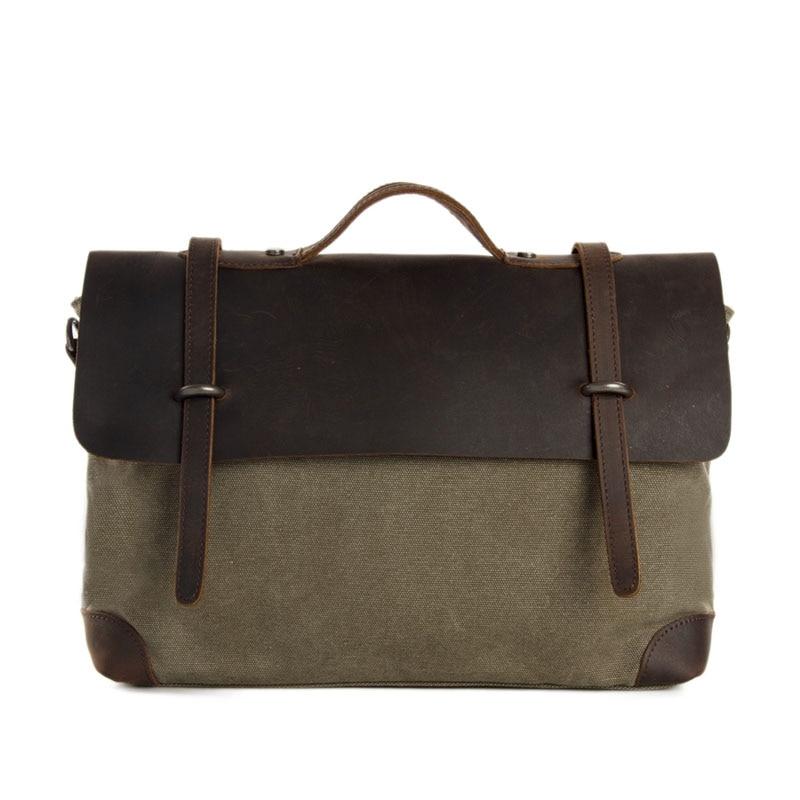 ФОТО Vintage Retro Look Leather Canvas Briefcase Messenger Crossbody Bag Canvas Bag Student Laptop Bag 6896