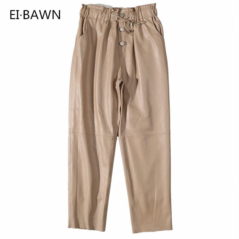 Кожаные Брюки женские уличные черные белые кожаные брюки флисовые брюки женские лакированные брюки из натуральной кожи зимние брюки женск