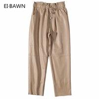 Кожаные Брюки женские уличные черные белые кожаные брюки флисовые брюки женские лакированные штаны из натуральной кожи женские зимние брю