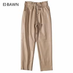 Pantaloni di pelle Delle Donne Streetwear Nero Bianco Pantaloni di Pelle Pantaloni In Pile Delle Donne di Brevetto Genuino Pantaloni di Pelle Pantaloni Delle Donne di Inverno