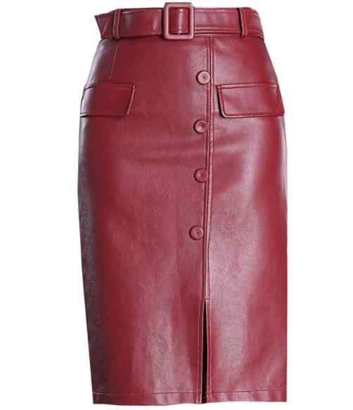 2019Women's из искусственной кожи юбки женские Девушки Высокая талия тонкий мешок бедра большой размер над коленом шаг кнопка спереди разрез DV689