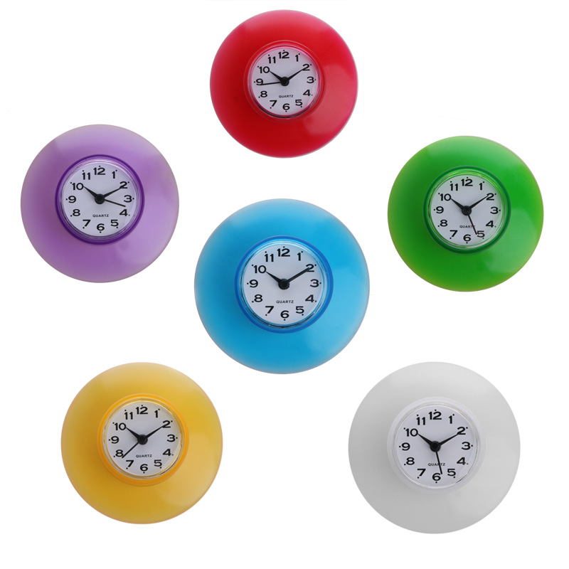 Ootdty Silikon Bad Küche Dusche Saug Wanduhr Wasserdicht Timer Glas Weiß/gelb/rot/lila/grün/blau Werkzeuge