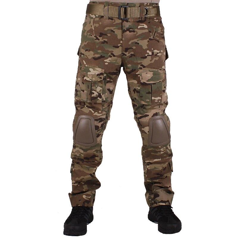 Hunting Camouflage Pants Tactische Broek Multicam MC Broek En Kniebeschermers Militaire Game Cosplay Uniform