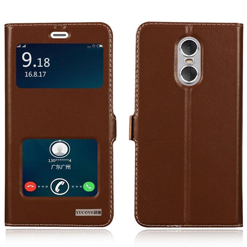 Цена за Роскошные Природные Натуральная Кожа Окно Флип Стенд Чехол Для Xiaomi Редми Примечание 4 Роскошный Мобильный Телефон + Подарок