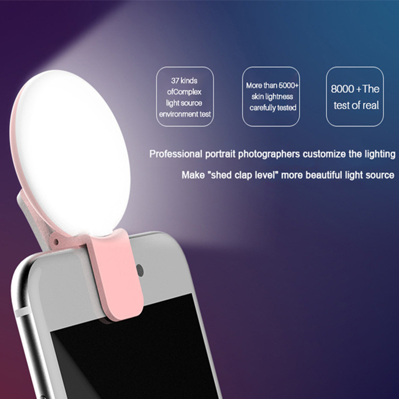 Cino Universal Phone Len For Redmi Note 5 Pro Beauty Fill Light With Clamp Zoom Rechargeable Camera LED Ring Selfie dimming