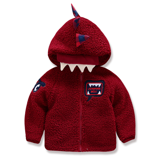 Free shipping boy  thick coat cashmere  baby boys winter jacket Hooded Coat cuties dinosaur angle