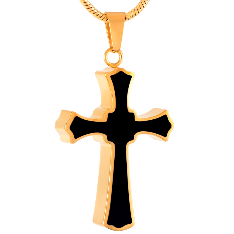 IJD8023 Stainless Steel Cross Cremation Precious Keepsake Necklace for Ashes Urn Memorial Souvenir Pendant Jewelry