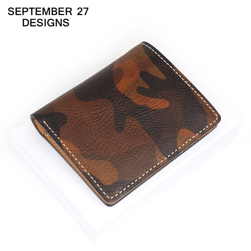 Camouflage Wallets luxury brand 100% Top genuine leather cowhide mini Men wallets Fashion Design small Male short Bifold purses фонарь maglite mini camouflage m2a026e