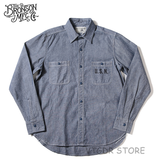 0ca133656bc Bronson WW2 USN Chambray Work Shirts Men s Vintage Selvage Navy Fatigue  Utility
