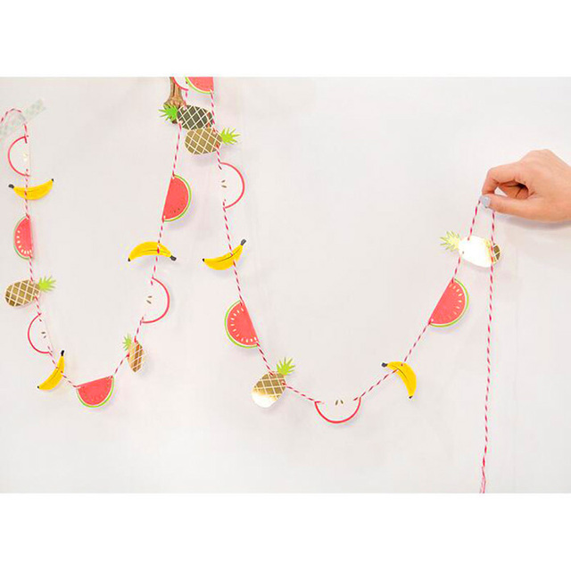 Lovely Fruit Design Paper Festival Party Flag Banners Kids Room Decor Birthday Hanging Decoration 10