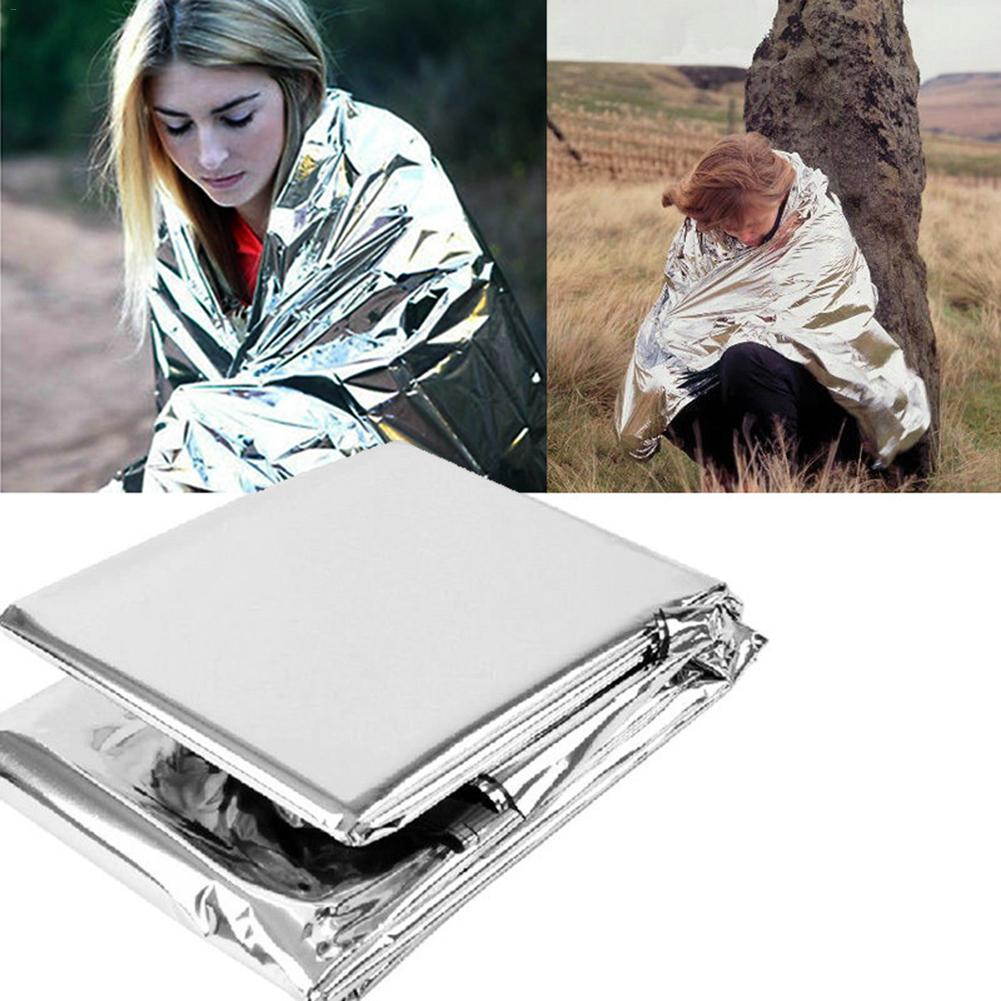 Outdoor Reflective Emergency Blanket First Aid Rescue Survival Kit Gear Camping Mat Foil Thermal  Silver