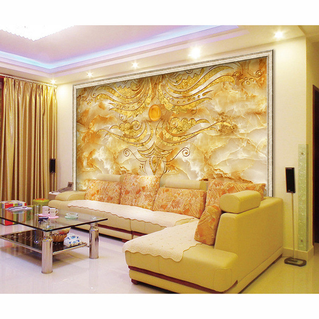 Vintage Non Woven 3D Golden Marble Pattern Murals Waterproof Wall Paper Of Walls For Living