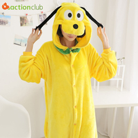 ACTIONCLUB Soft Flannel Homewear Cute Kigurumi For Adults Unisex Onesies Animal Yellow Puppy Pajamas Indoor Gowns