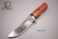 Russian handmade hunting skin tactical knife VG10+410C steel fixed blade folding fire knives camping leather case Wooden handle