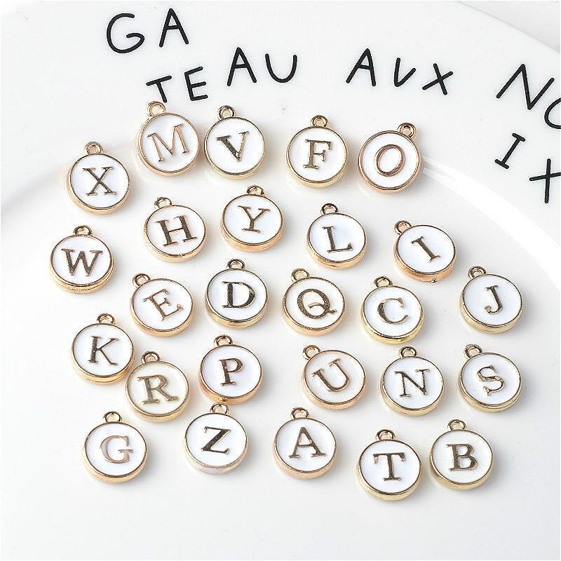 10pcs/26pcs  Alphabet Letter Double Face Enamel Charms  Gold color 41*24mm pendants jewelry making Handmade craft 1