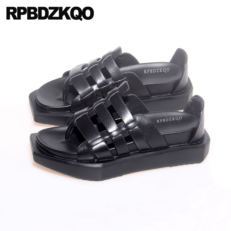 Flat Strap Up Thong Shoes Flatform Roman Slides Slippers Genuine Leather Harajuku Vintage Gladiator Sandals Heels Platform Women цена 2017