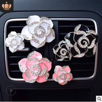 Black/Rose/White/Pink/Purple Camellia Aromatherapy Clip Auto Air Vent Freshener Car Accessories Car Air Fragrance HA151