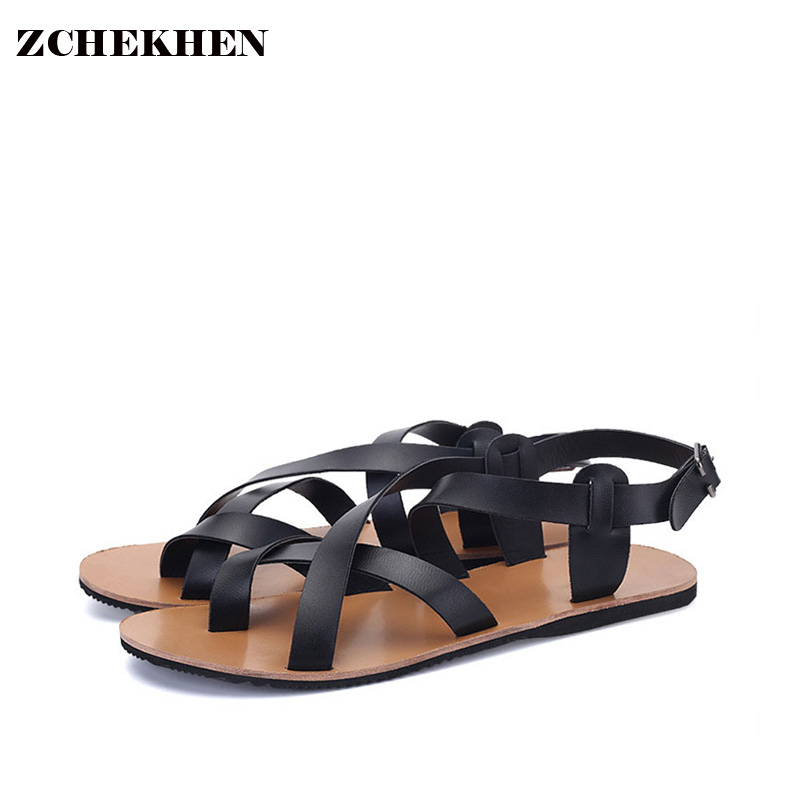New Mens Shoes Summer Men font b Sandals b font Vintage Flat Heel Solid Buckle Beach