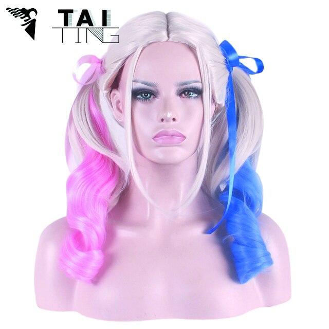 Peruca Harley Quinn Wig Pelucas Pelo Natural Hair Wig Perruque Women  Synthetic Wigs Cosplay Wig Pink Blue Pelucas Sinteticas dece59d31
