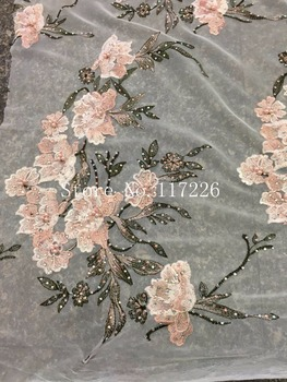 Graceful flower French tulle embroidery lace fabric JRB-12915 with full stones African net lace for party dress